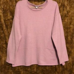 pureJill baby Pink crew sweater with pocket xl